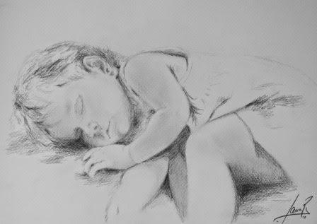 Apunte Bebé Durmiendo. Grafito 2012. 24x30cm
