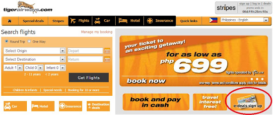 Website of TigerAirways