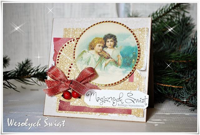 kartka świąteczna scrapbooking boże narodzenie