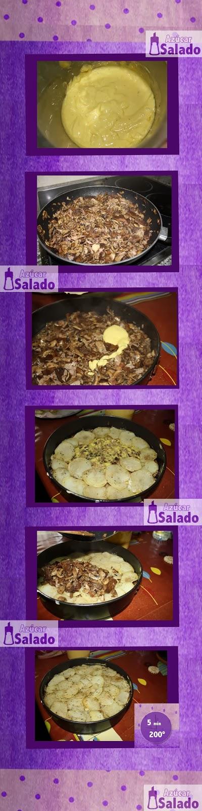 pastel de patatas y setas