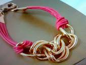 pulseira cordao de camurça pnk c elos dourados