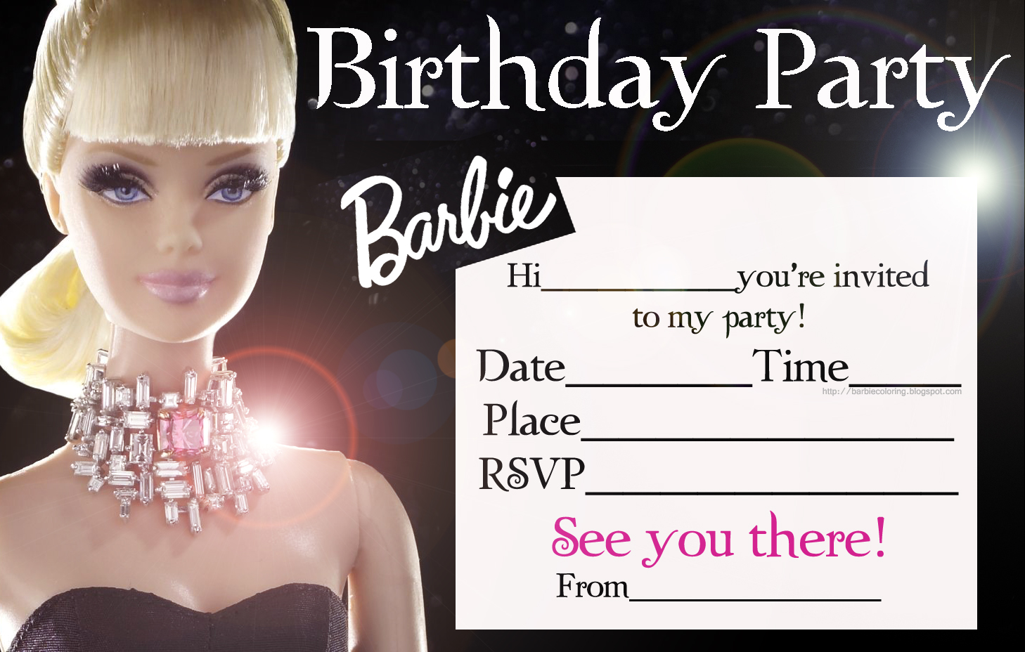 BARBIE COLORING PAGES: BARBIE GLAMOUROUS PARTY INVITATION