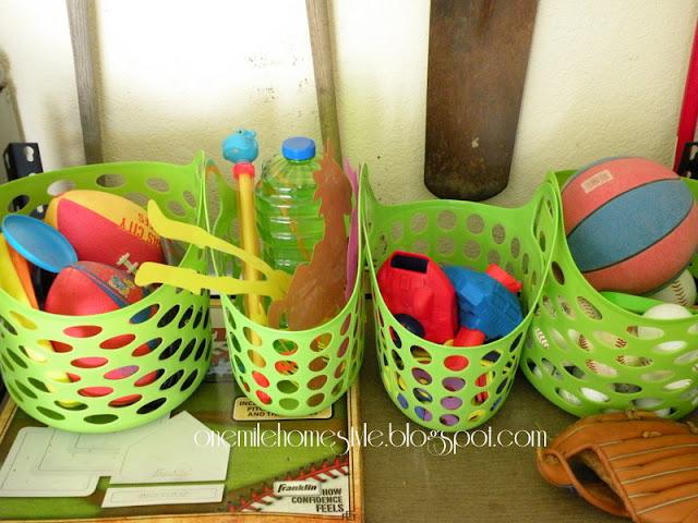 Plastic baskets for garage organization