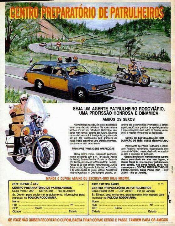 Anúncio de curso preparatório para patrulheiro rodoviário, nos anos 70.