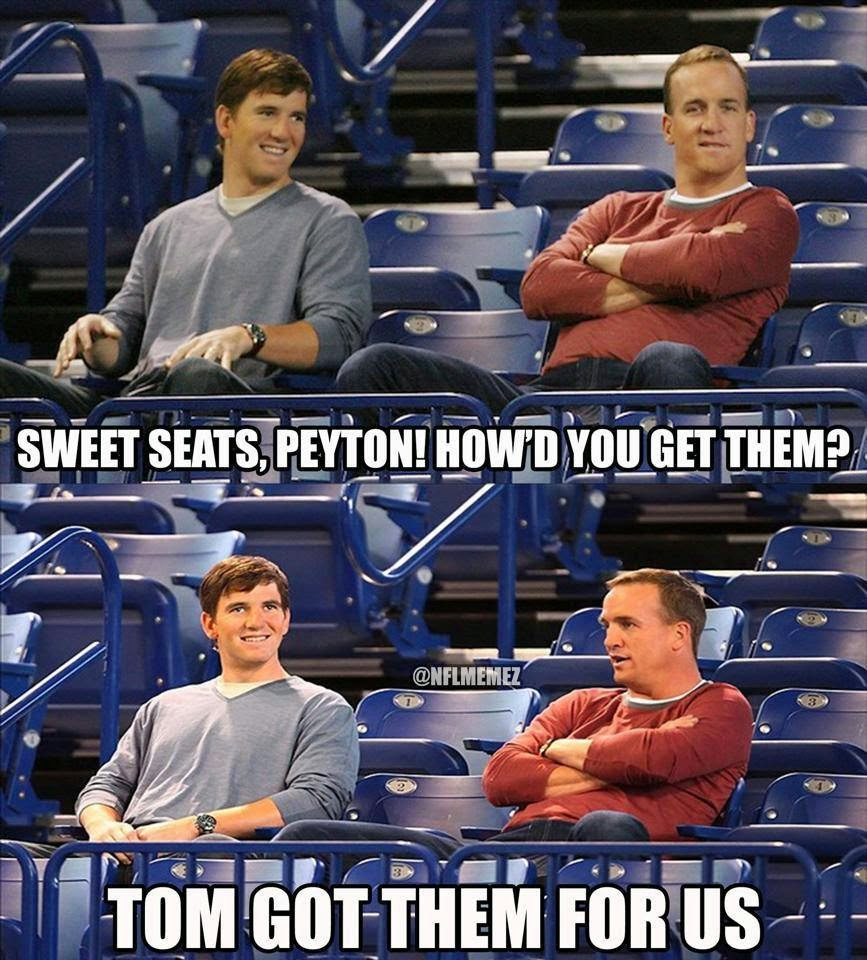 Sweet seats, Peyton! how'd you get them? tom got them for us