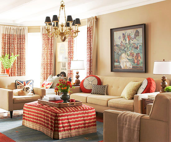 2013 neutral living room decorating ideas from bhg for Accent colors for neutral rooms