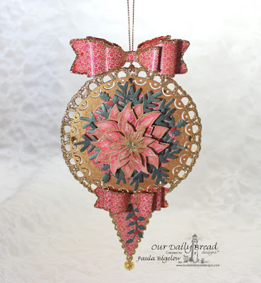 Our Daily Bread Designs,  Poinsettia Ornament,Fancy Foliage, Circle Ornaments, Pennants, Lovely Leaves, Small Bow, Medium Bow, Christmas Paper Collection 2015, designed by Paula Bigelow