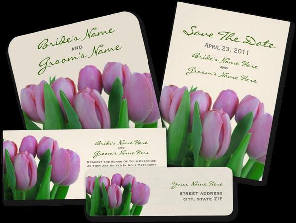 Pink Tulips Wedding Invitations
