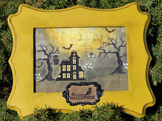 Haunted Halloween decor frame by Larissa Heskett for Newton's Nook Designs | Spooky Street Stamp Set