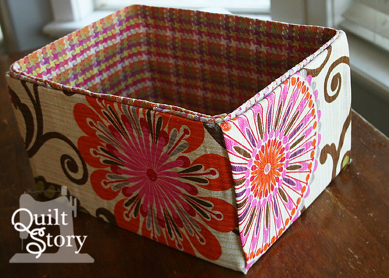 Quilt story hgtv fabrics fabric covered boxes for Fabric covered boxes craft