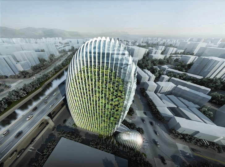 Green facade of the Impressive Modern Office Tower by Aedas