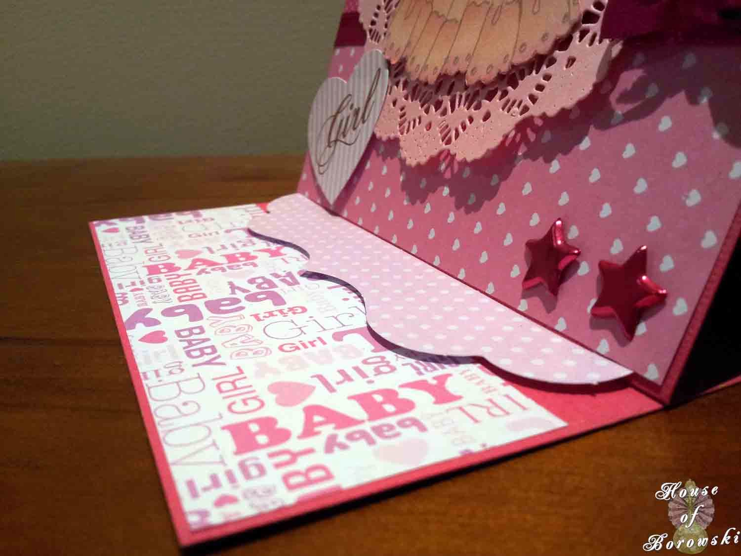 House of Borowski, Easel Card, Kaisercraft Lullaby, Cheryl Lyn English Tea Party, Couture Creations Heart Die