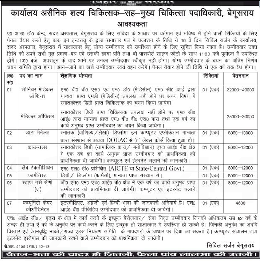 Job from A.R.T Center, Sadar Hospital, Begusarai (Bihar)