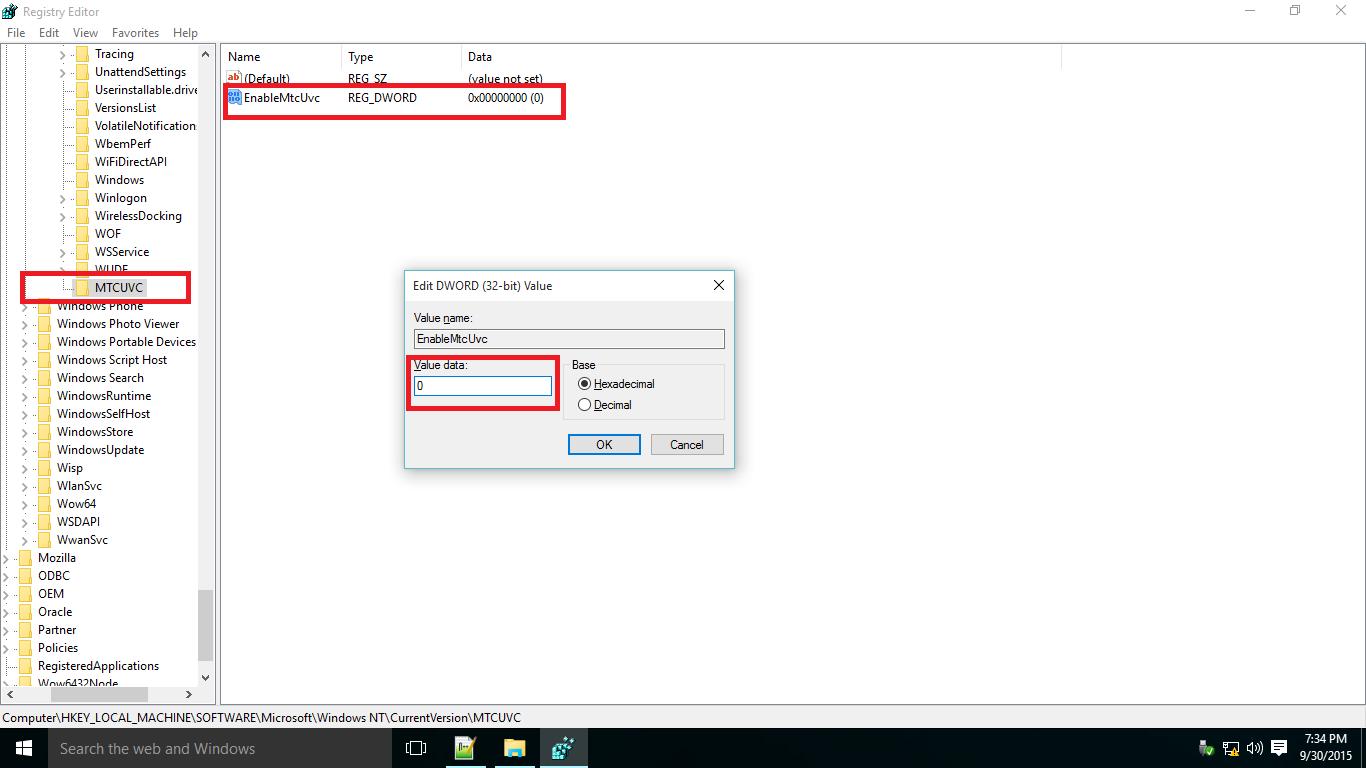Changingregistrysettingsforvolumecontrol 2014 Platform: Windows 7 Volume  Successfully Initialized
