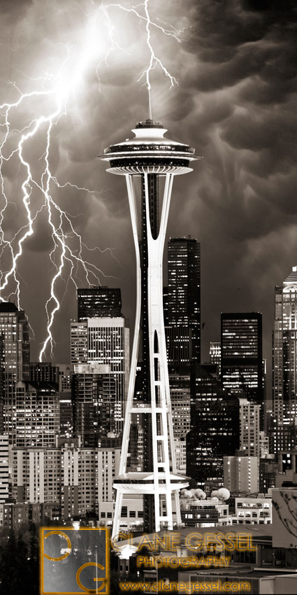 seattle storm lightning space needle lightning