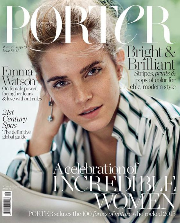 Emma Watson goes bare faced for Porter Magazine Winter Escape 2015
