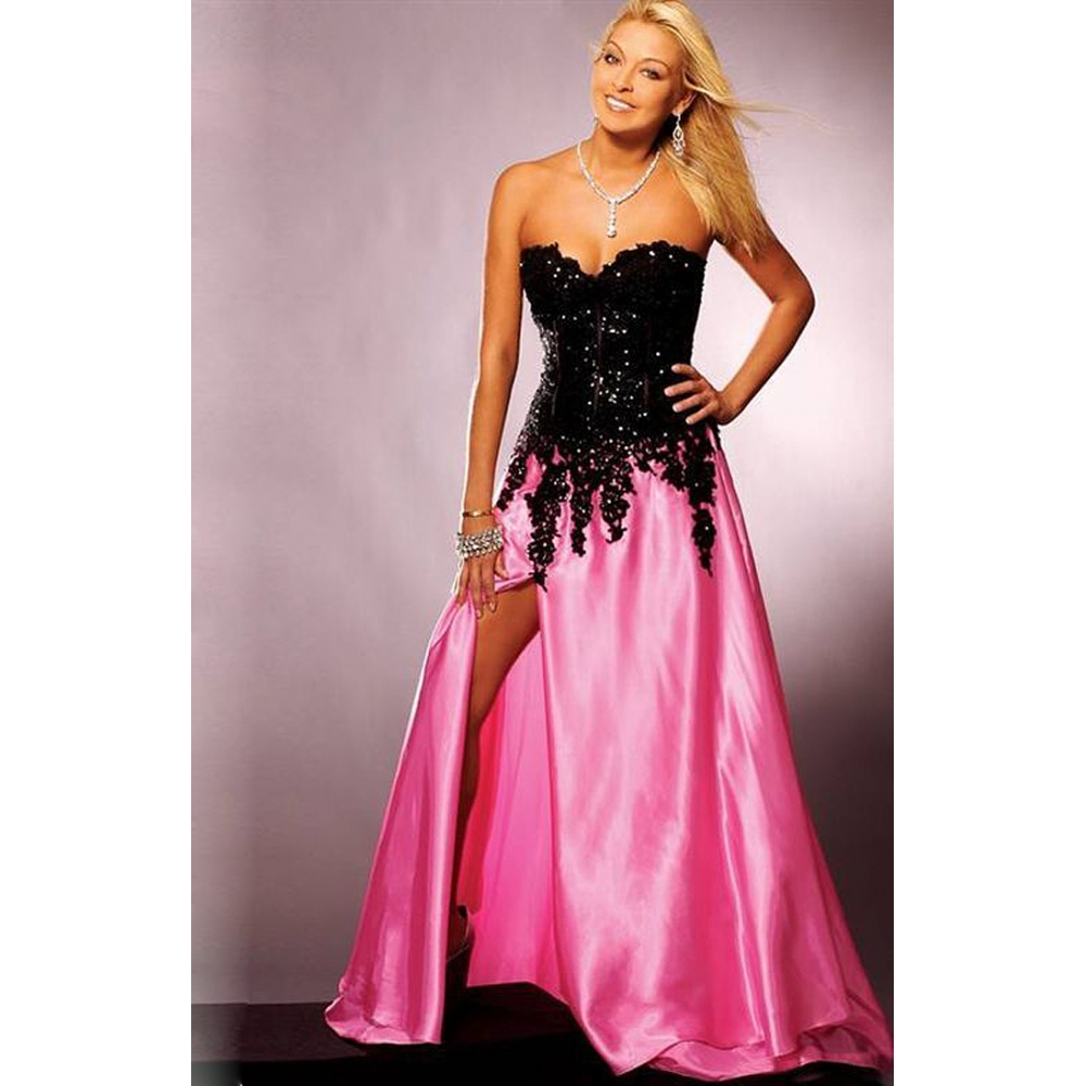 Celebrity gossip pink and black prom dress for Black and pink wedding dress
