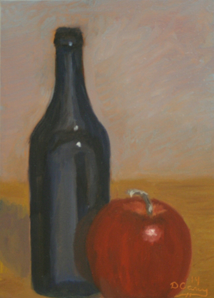 Kitchen Painting - Cobalt Apple 001a 5x7 oil on gessobord - Dave Casey - TheDailyPainter.jpg