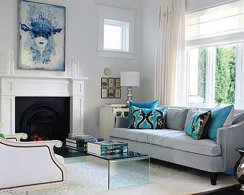 Wonderful Blue And Grey Living Room With Fireplace Ideas Part 11