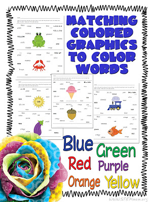 Free Student Printable: Matching Color Pictures to Color Words: from STEMmom.org