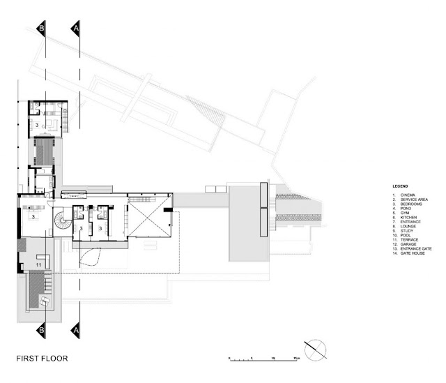 First floor floor plan of the villa sow