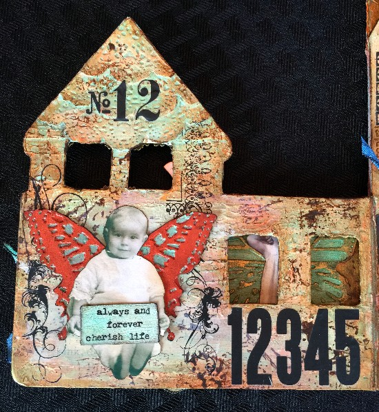 Altered mixed media children's book page 2.