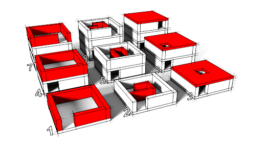 Construction steps of the Marble maze cube puzzle