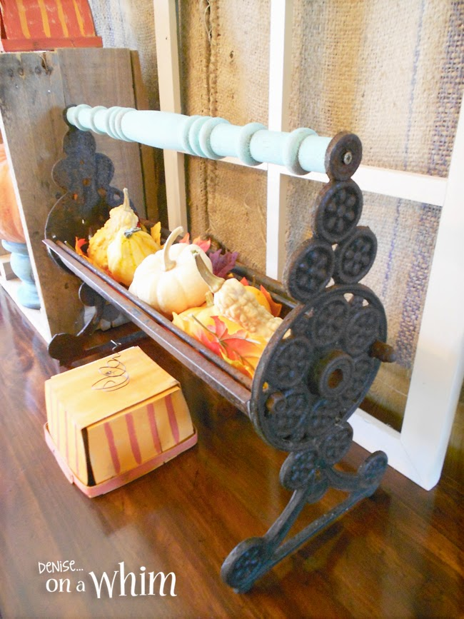 Beautiful Antique Fireplace Log Roller Dressed up for Fall! | Denise on a Whim