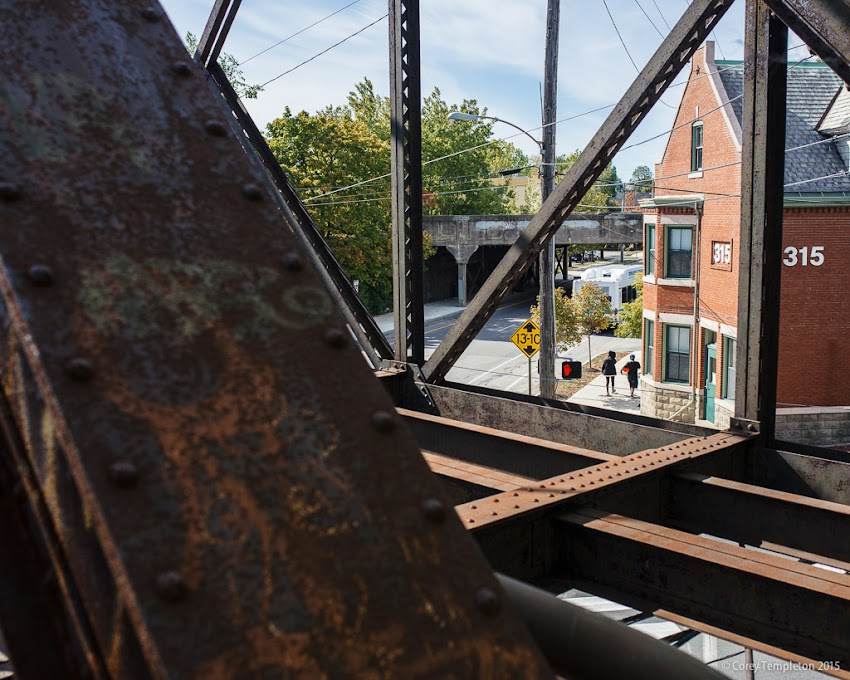 October 2015 Portland, Maine USA Photo by Corey Templeton. Old St. John Street at Park Avenue railroad trestle bridge.