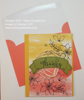 Card made with parts from Stampin'UP!'s October 2015 Paper Pumpkin Kit: Blissful Bouquet