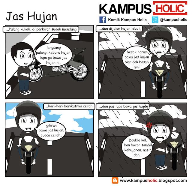 #189 Jas Hujan, nasib mahasiswa saat kehujanan dan ban bocor ala komik kampus holic