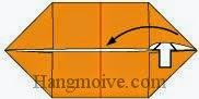 Bước 4: Từ vị trí mũi tên, mở lớp giấy trên cùng ra, kéo và gấp lớp giấy về bên trái.