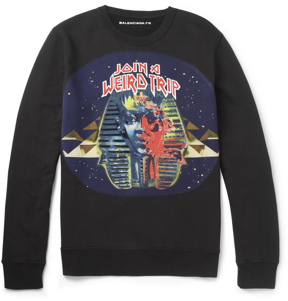 00O00 Menswear Blog: Printed Cotton-Jersey Sweatshirt Balenciaga Join a Weird Trip