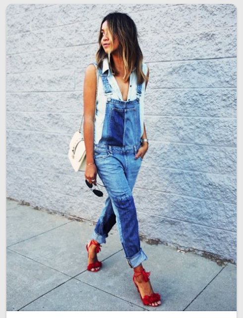 red fringe heels with overalls