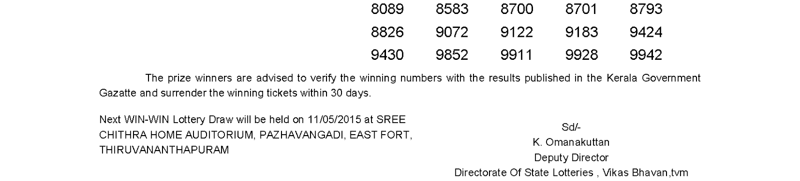 WIN WIN Lottery W 306 Result 4-5-2015