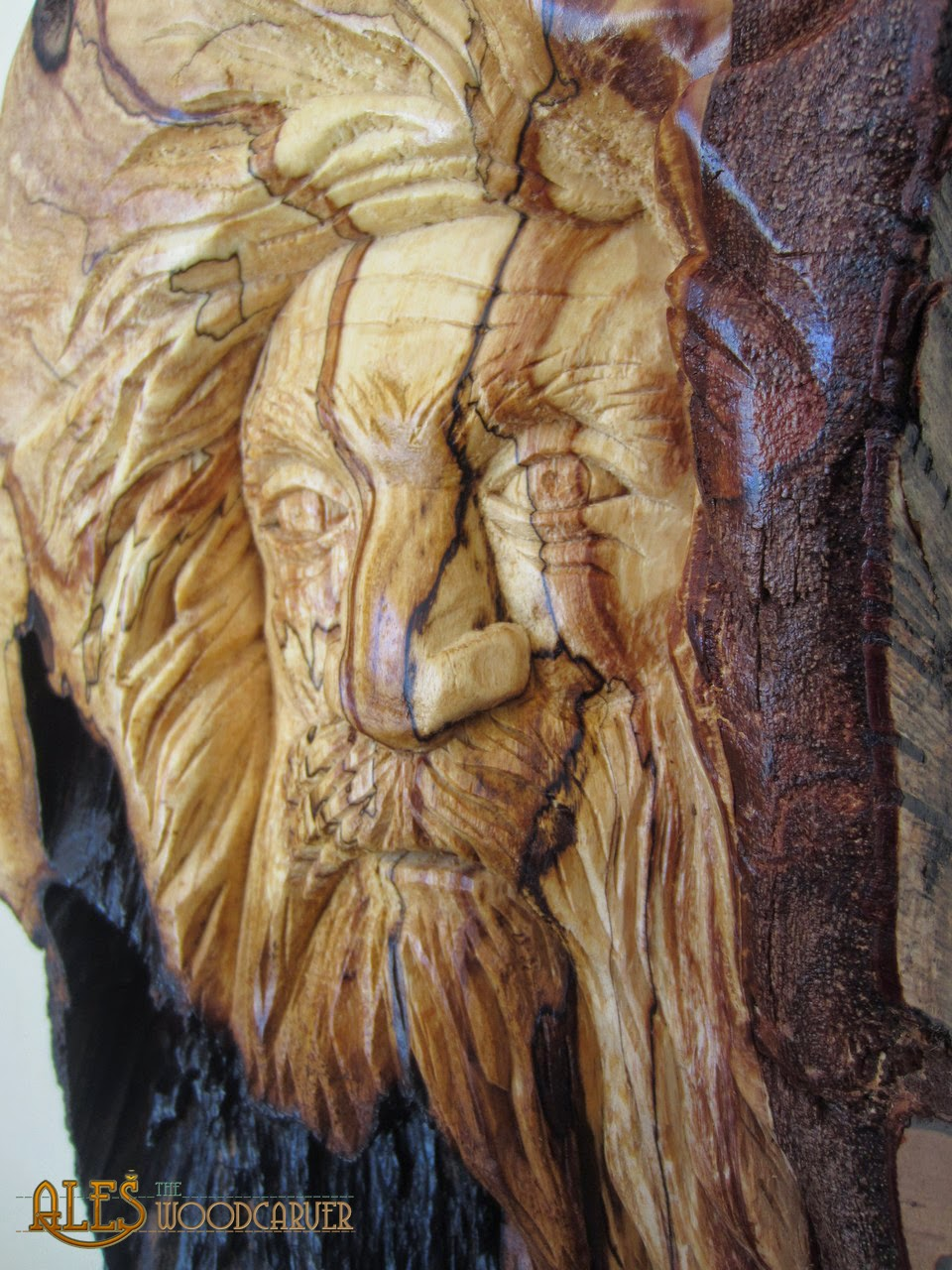 Ales the woodcarver woodspirit in spalted birch