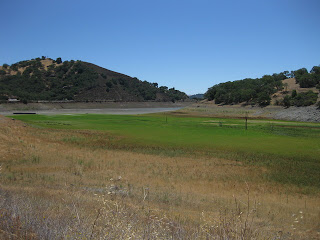 Chesbro Reservoir, Morgan Hill, CA. Water level at 4.8% of capacity.