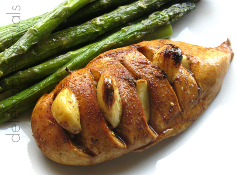 Delectable Victuals: Garlic Chicken with Roasted Asparagus