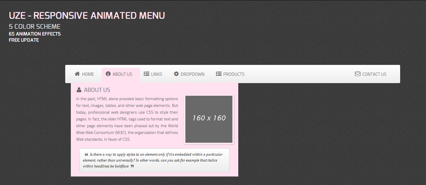 Uze – Responsive Animated Menu