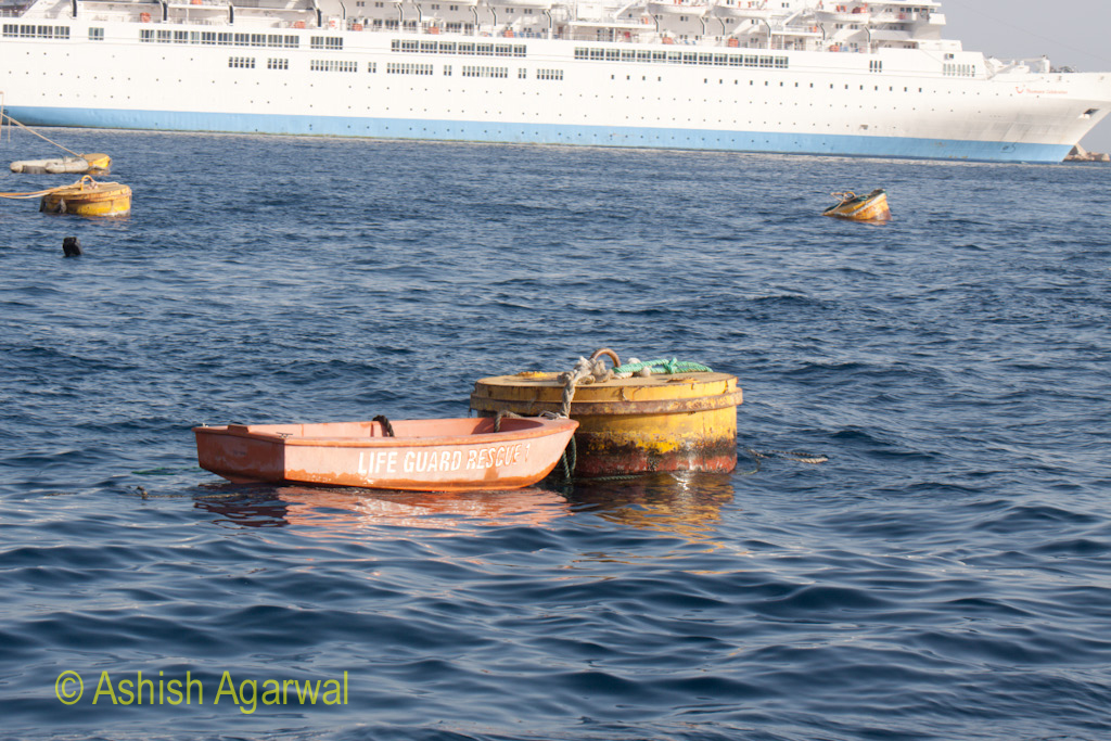 A Life Guard boat tied to a buoy in the water of the Red Sea off Sharm el Sheikh