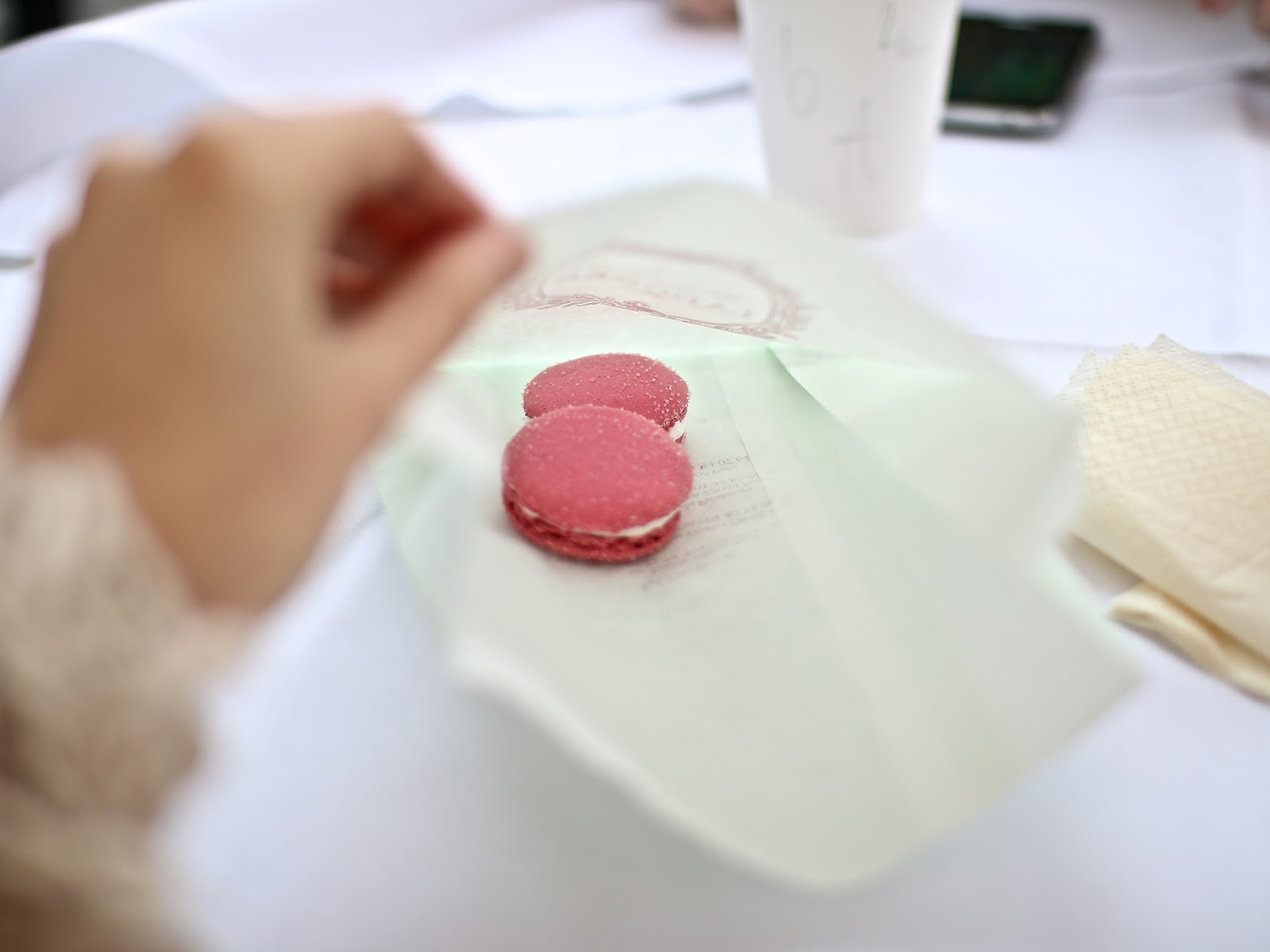 delicious bright pink laduree macaroons in covent garden