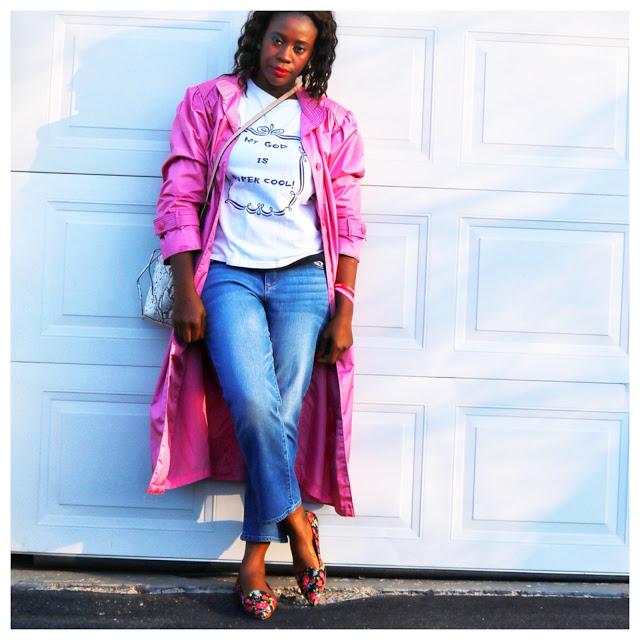 Pink Coat + Floral Flats