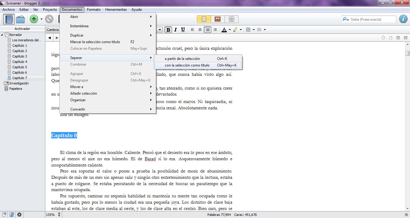 Scrivener: cómo separar un documento