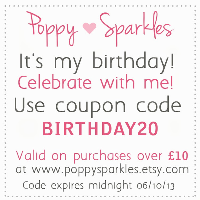 It's my birthday! Celebrate with me with a special coupon code on all purchases from Poppy Sparkles #jewellery #discount #etsy #handmade
