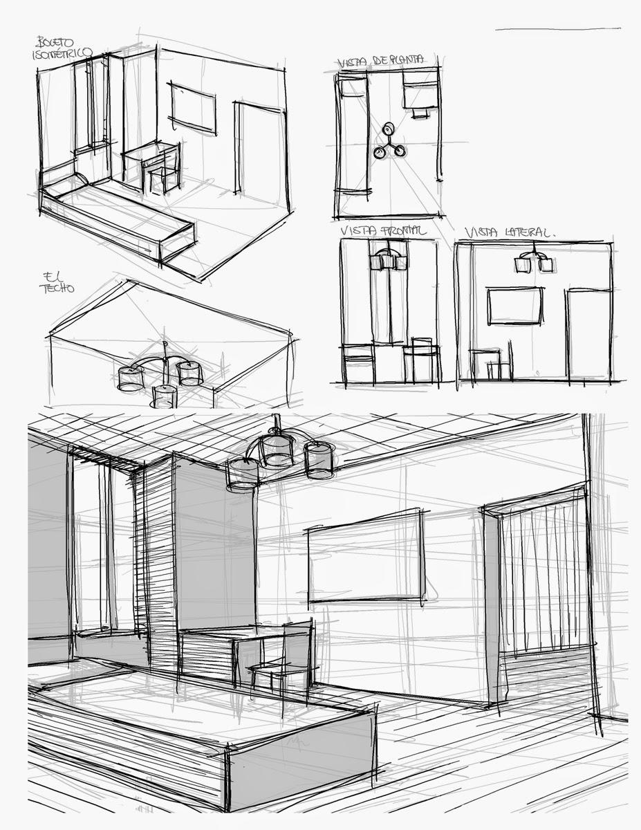 El blog del profe de dibujo habitaci n en 2 puntos de fuga for Habitacion dibujo