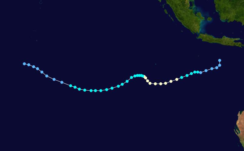 Trajectoire de la tempête tropicale Birenda