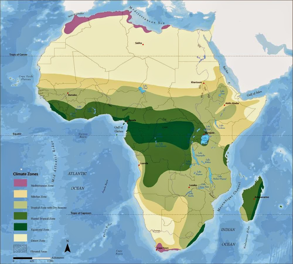 Map of climate of Africa showing great detail.