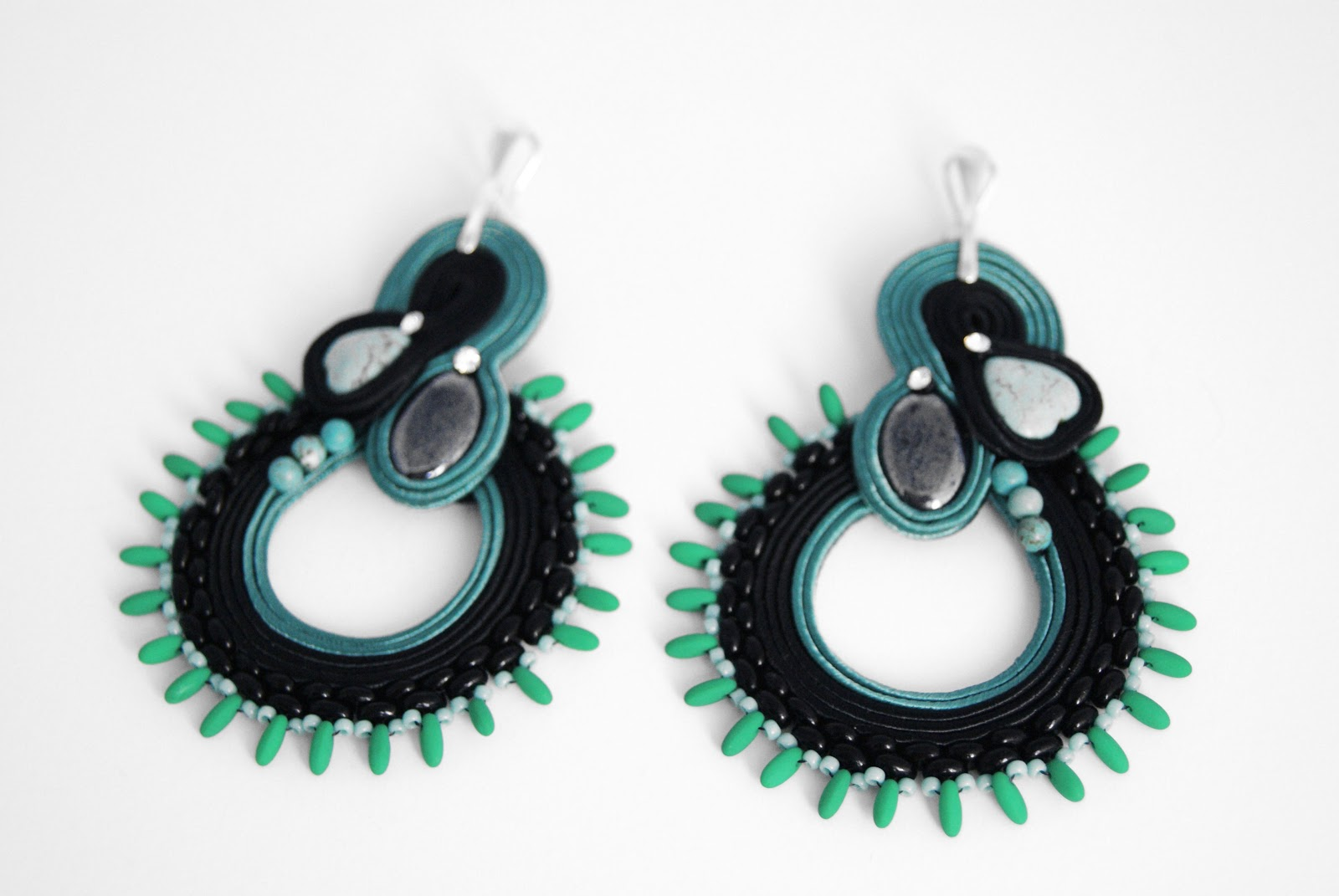 soutache, earrings, tartan