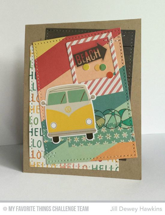 Beach Day Card by Jill Dewey Hawkins featuring the Birdie Brown Penguins in Paradise stamp set and the Cross-Stitch Rectangle STAX and Precious Polaroids Die-namics #mftstamps