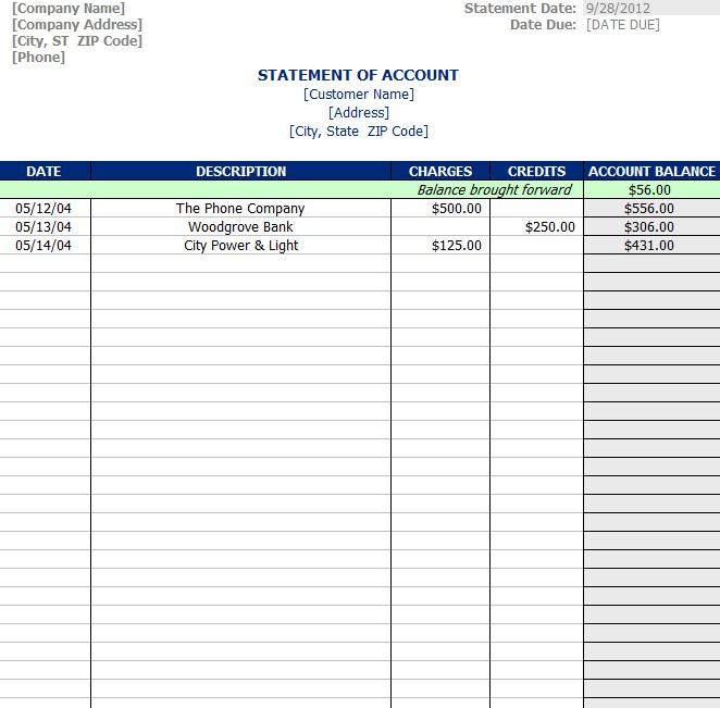 statement of account template sample. Black Bedroom Furniture Sets. Home Design Ideas